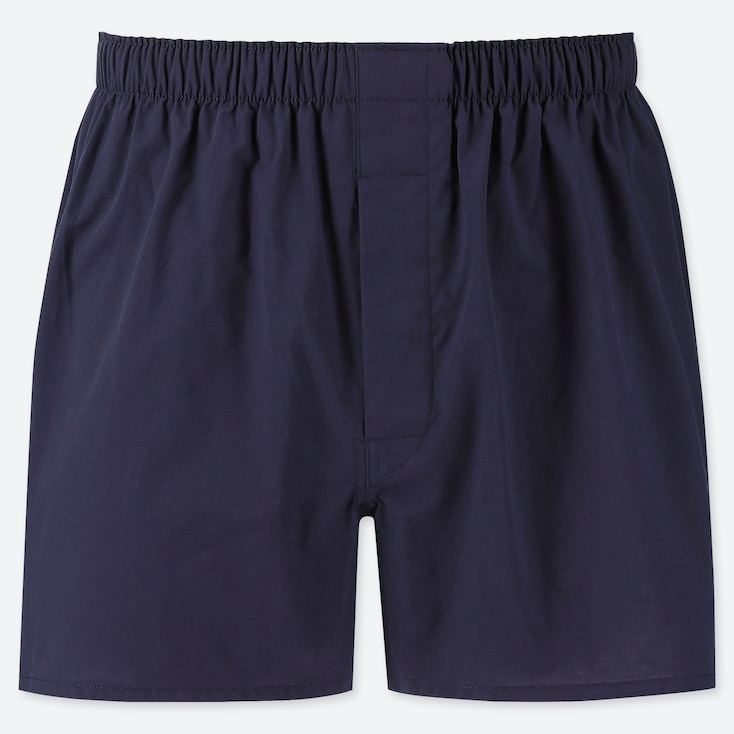 Men Woven Broad Boxers, Navy, Large