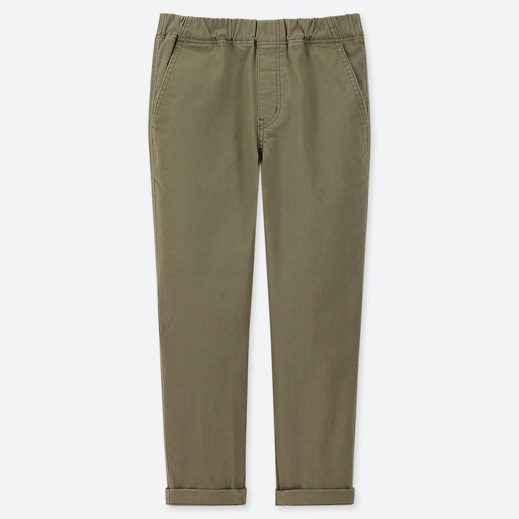 BOYS ULTRA STRETCH RELAXED TAPERED ANKLE PANTS, OLIVE, large