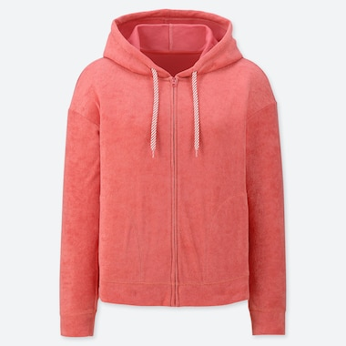 WOMEN AIRISM PILE LONG SLEEVED ZIP-UP HOODIE
