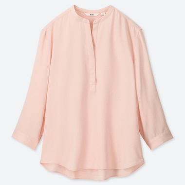 WOMEN RAYON GRANDAD COLLAR 3/4 SLEEVED BLOUSE
