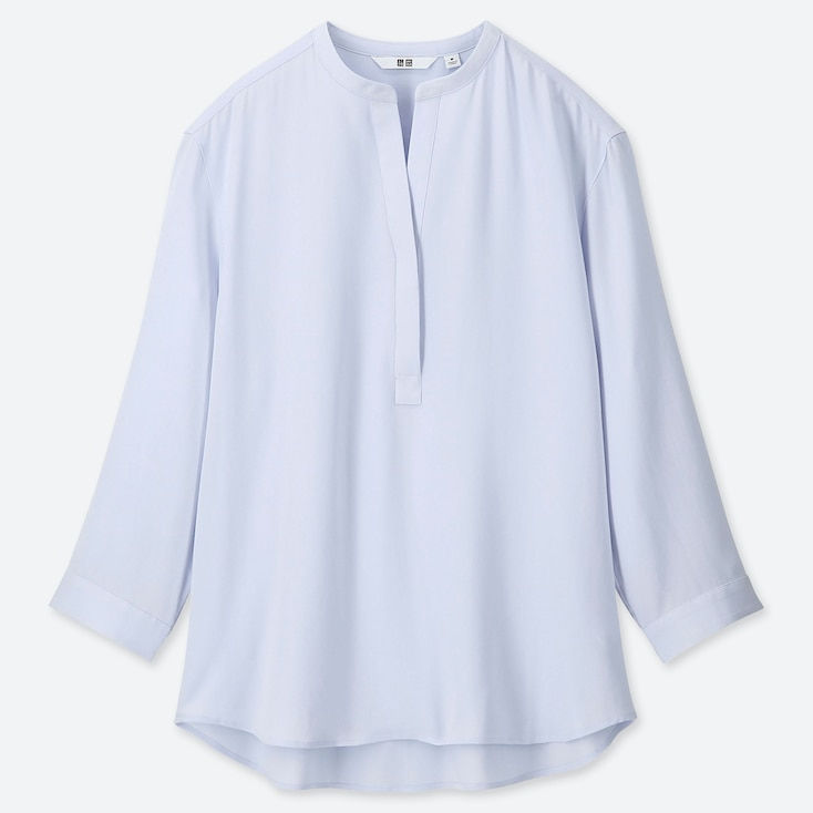 WOMEN RAYON STAND COLLAR 3/4 SLEEVE BLOUSE, LIGHT BLUE, large
