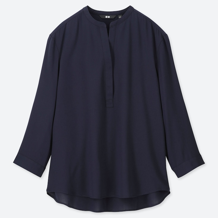 WOMEN RAYON STAND COLLAR 3/4 SLEEVE BLOUSE, NAVY, large