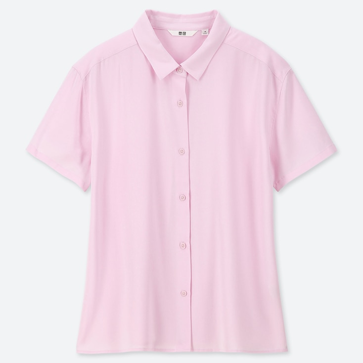 Women Rayon Short-Sleeve Blouse, Pink, Large