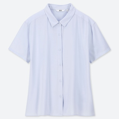 WOMEN RAYON SHORT-SLEEVE BLOUSE, LIGHT BLUE, medium