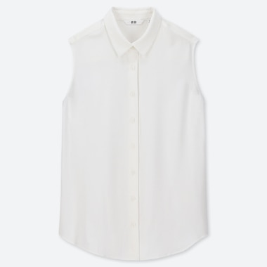 WOMEN RAYON SLEEVELESS BLOUSE, WHITE, medium