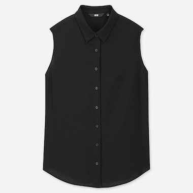 WOMEN RAYON SLEEVELESS BLOUSE, BLACK, medium