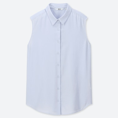 WOMEN RAYON SLEEVELESS BLOUSE, LIGHT BLUE, medium