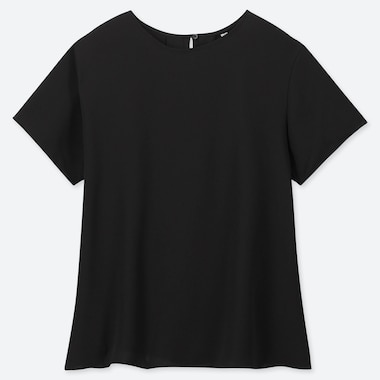 WOMEN DRAPE SHORT-SLEEVE BLOUSE, BLACK, medium