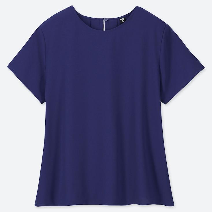 Women Drape Short-Sleeve Blouse, Blue, Large