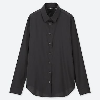 Women Supima© Cotton Stretch Long-Sleeve Shirt, Black, Medium