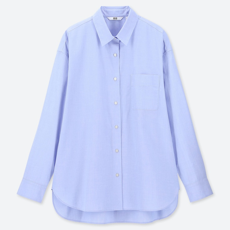 WOMEN EXTRA FINE COTTON LONG-SLEEVE SHIRT, LIGHT BLUE, large