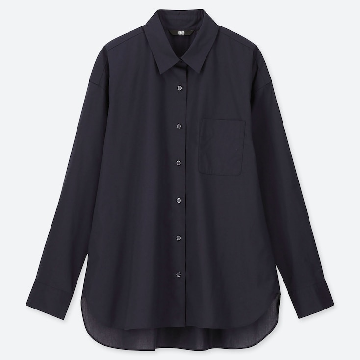 WOMEN EXTRA FINE COTTON LONG-SLEEVE SHIRT, NAVY, large