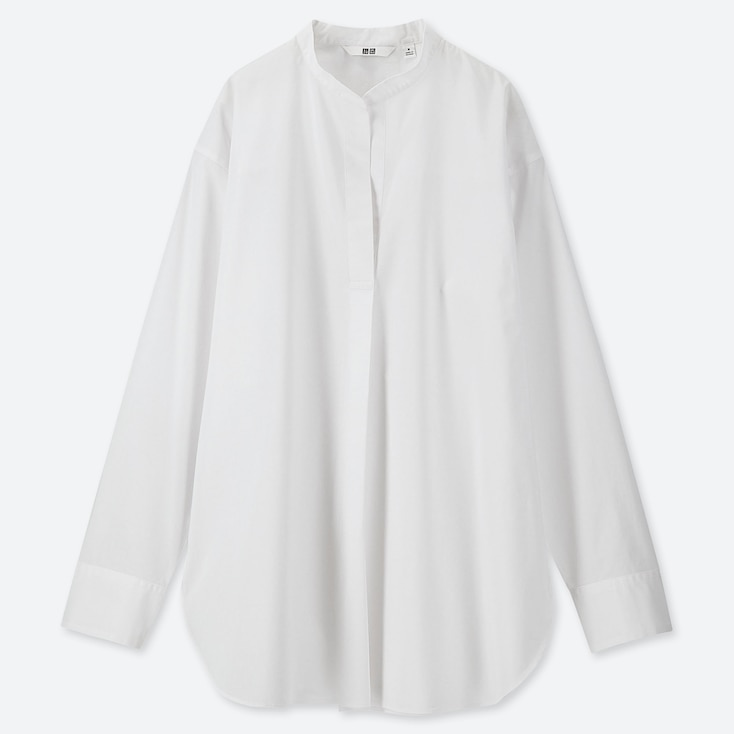 WOMEN EXTRA FINE COTTON STAND COLLAR LONG-SLEEVE SHIRT, WHITE, large