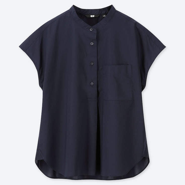 WOMEN EXTRA FINE COTTON SHORT-SLEEVE SHIRT (ONLINE EXCLUSIVE), NAVY, large