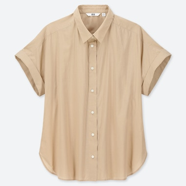 WOMEN SOFT COTTON SHORT-SLEEVE SHIRT, BEIGE, medium