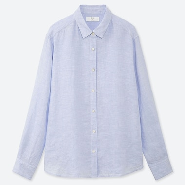 WOMEN PREMIUM LINEN LONG-SLEEVE SHIRT, BLUE, medium