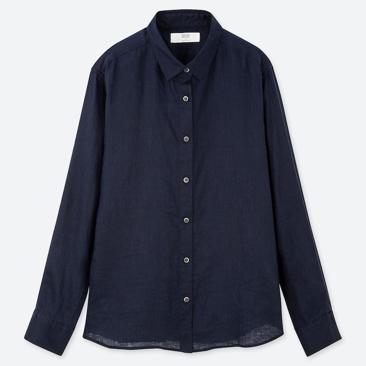 Women Premium Linen Long Sleeve Shirt Uniqlo Us