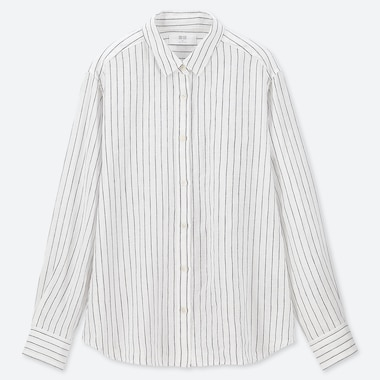 WOMEN PREMIUM LINEN STRIPED LONG-SLEEVE SHIRT, WHITE, medium