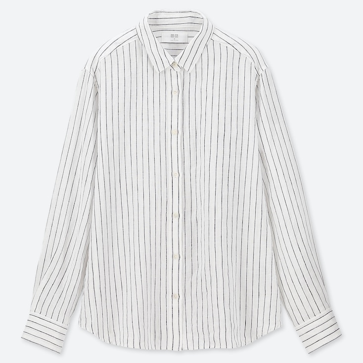 WOMEN PREMIUM LINEN STRIPED LONG-SLEEVE SHIRT, WHITE, large