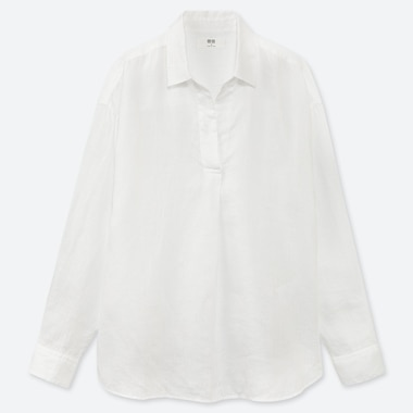WOMEN PREMIUM LINEN SKIPPER COLLAR LONG-SLEEVE SHIRT, WHITE, medium