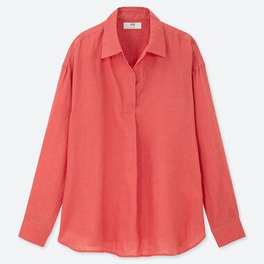 WOMEN PREMIUM LINEN SKIPPER COLLAR LONG-SLEEVE SHIRT, ORANGE, medium