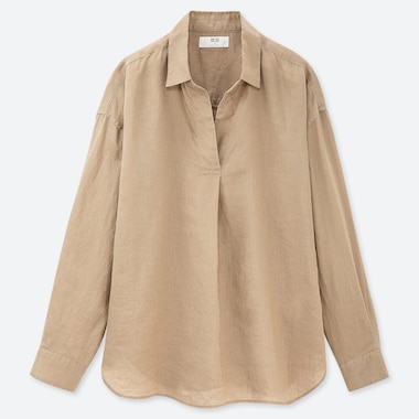 WOMEN PREMIUM LINEN SKIPPER COLLAR LONG SLEEVED SHIRT