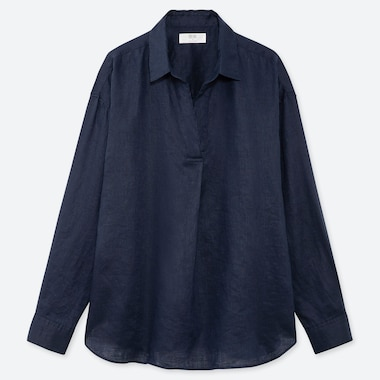 WOMEN PREMIUM LINEN SKIPPER COLLAR LONG-SLEEVE SHIRT, NAVY, medium