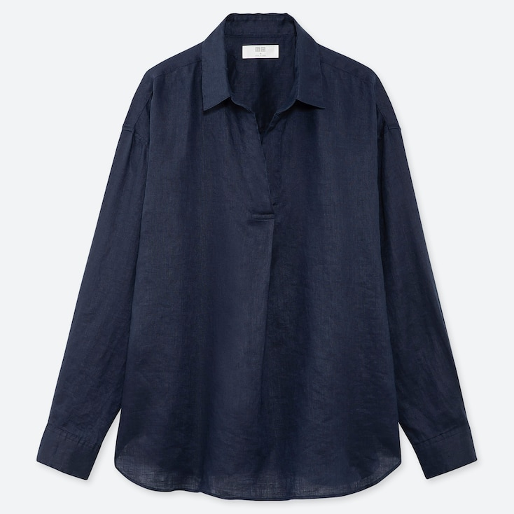 WOMEN PREMIUM LINEN SKIPPER COLLAR LONG-SLEEVE SHIRT, NAVY, large