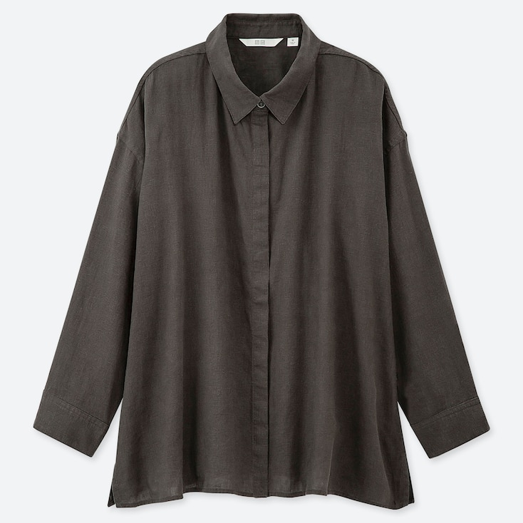 WOMEN LINEN BLEND 3/4 SLEEVE SHIRT, DARK GRAY, large