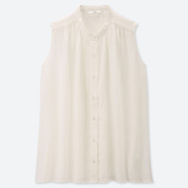 WOMEN LINEN BLEND SLEEVELESS BLOUSE