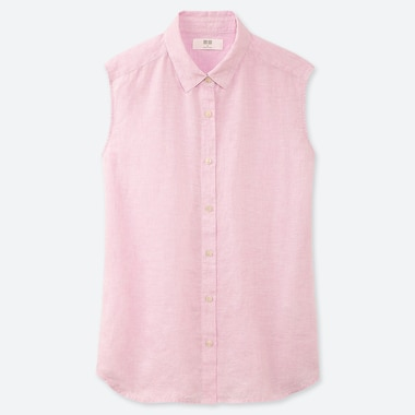 WOMEN PREMIUM LINEN SLEEVELESS SHIRT TOP