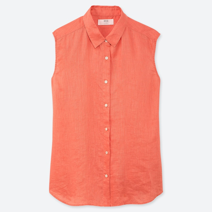 WOMEN PREMIUM LINEN SLEEVELESS SHIRT, LIGHT ORANGE, large