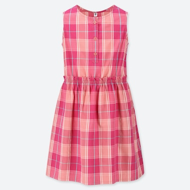 GIRLS CHECKED SLEEVELESS DRESS, PINK, medium