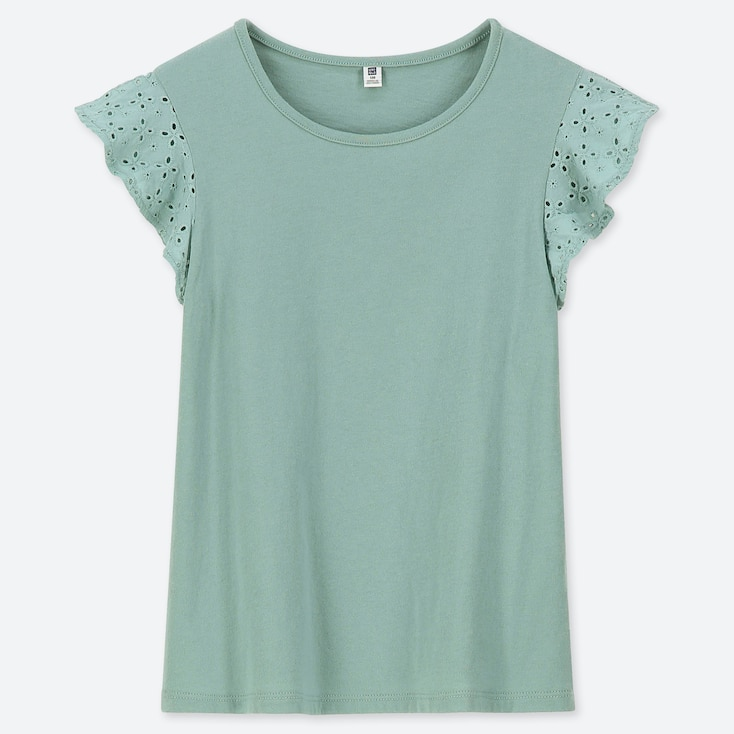 GIRLS LACE FRILL CREW NECK SHORT-SLEEVE T-SHIRT, GREEN, large