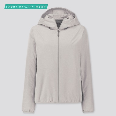 WOMEN POCKETABLE UV CUT PARKA, GRAY, medium