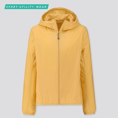 WOMEN POCKETABLE UV CUT PARKA, YELLOW, medium