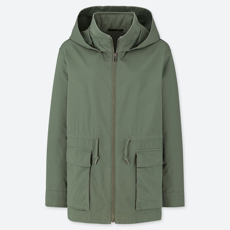 WOMEN COTTON PARKA, OLIVE, large
