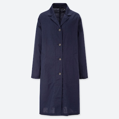 WOMEN LINEN BLEND TRENCH COAT