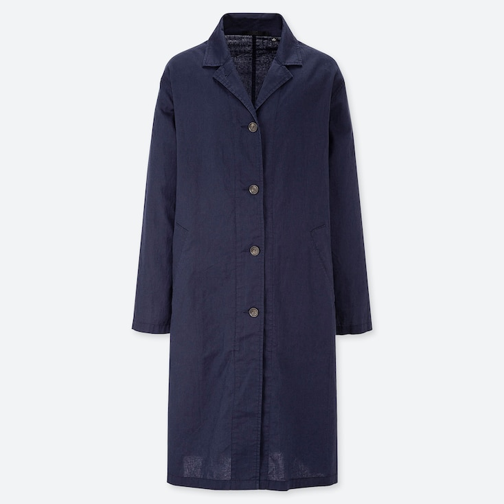 WOMEN LINEN BLEND COAT, NAVY, large
