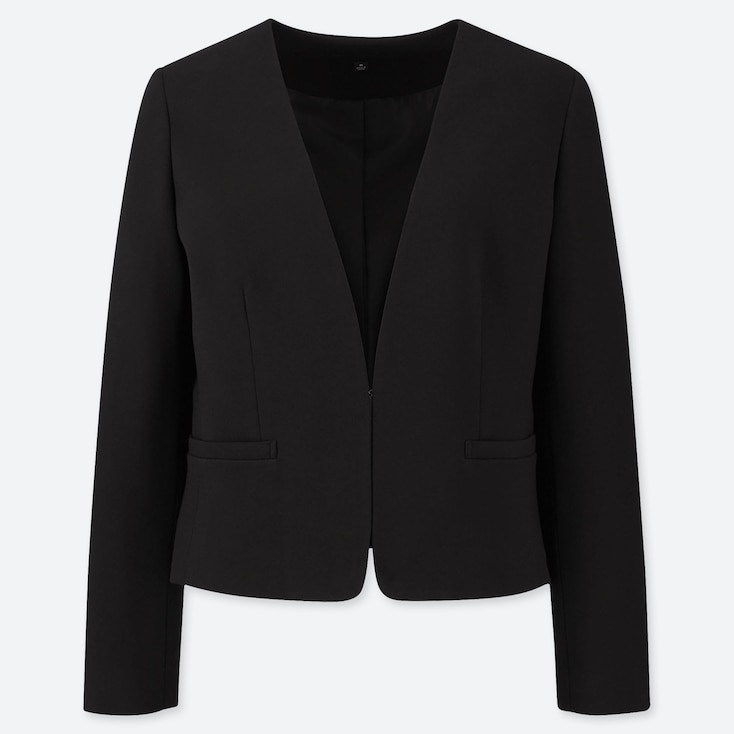 WOMEN PONTE COLLARLESS JACKET (ONLINE EXCLUSIVE), BLACK, large