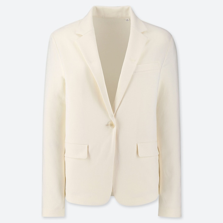 WOMEN UV CUT JERSEY JACKET, OFF WHITE, large