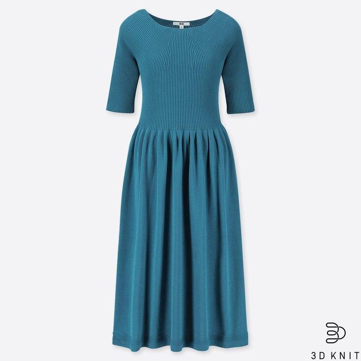 WOMEN 3D COTTON RIBBED HALF SLEEVE DRESS, GREEN, large