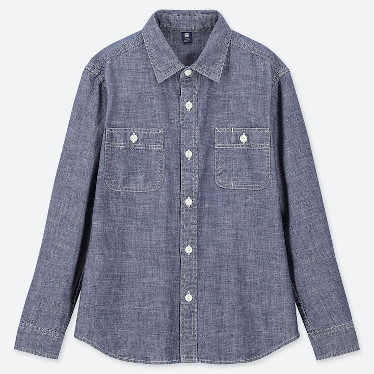 KIDS CHAMBRAY LONG-SLEEVE SHIRT, BLUE, large