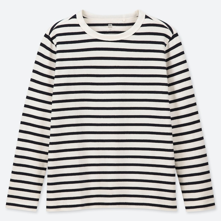 KIDS STRIPED CREW NECK LONG-SLEEVE T-SHIRT, OFF WHITE, large
