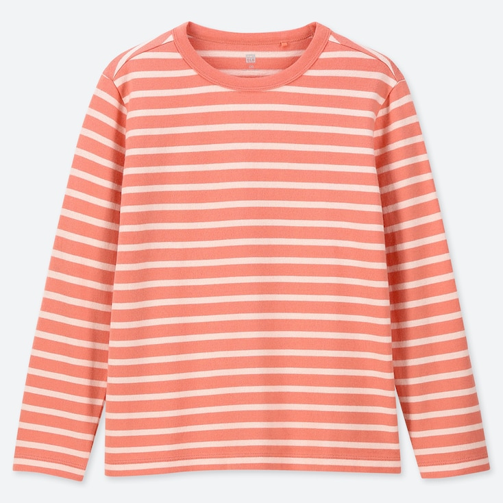 KIDS STRIPED CREW NECK LONG-SLEEVE T-SHIRT, ORANGE, large