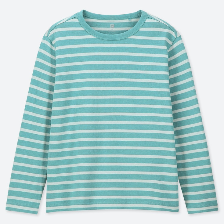 KIDS STRIPED CREW NECK LONG-SLEEVE T-SHIRT, GREEN, large