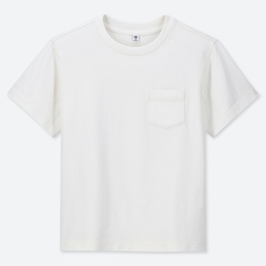 KIDS WASHED CREW NECK SHORT-SLEEVE T-SHIRT, OFF WHITE, medium
