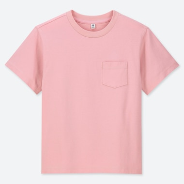 KIDS WASHED CREW NECK SHORT-SLEEVE T-SHIRT, PINK, medium