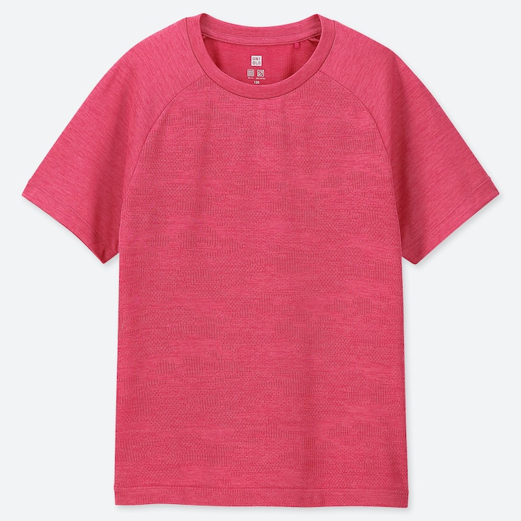 KIDS DRY-EX CREW NECK SHORT-SLEEVE T-SHIRT, PINK, large