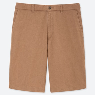 MEN LINEN BLEND SHORTS, BROWN, medium